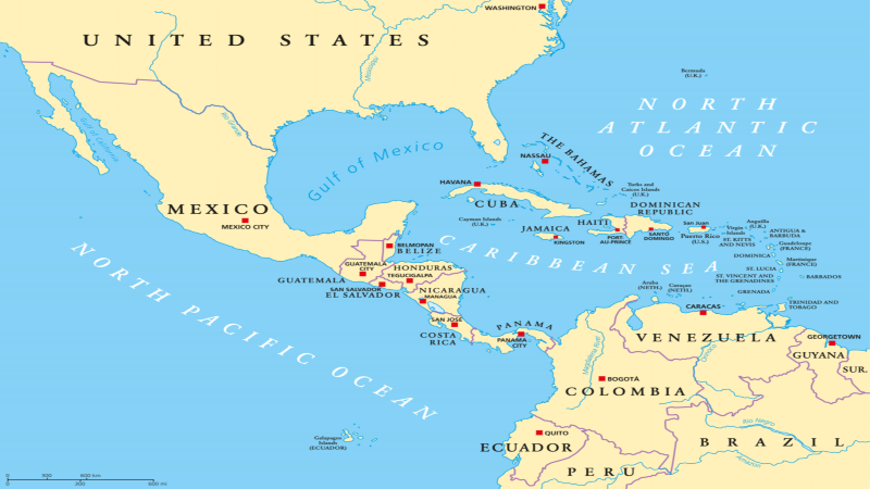 map of the caribbean sea