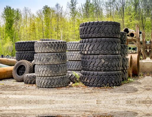 big tires piling up
